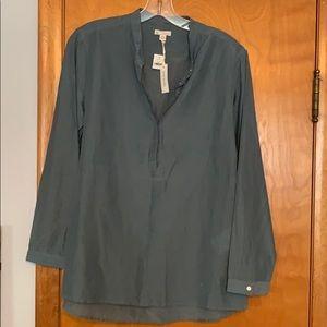 Gap: Grey/Blue Silk Concealed Button Shirt